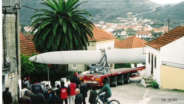 Transporte das elices das ventoinhas