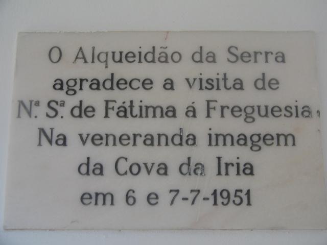 Placa Comemorativa da Visita da Imagem qque se venera na Capelinha