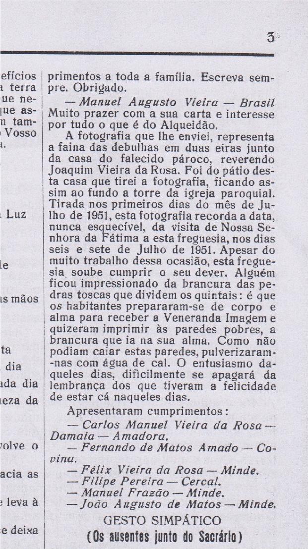 """Recorte do Jornal """"Sol da Serra de Julho de 1956"""