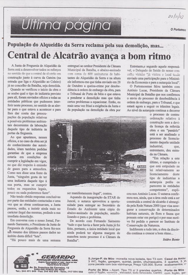 Jornal O Portomosense 20 de Novembro de 2003
