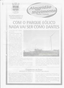 Boletim Informativo da Junta de Freguesia de Alqueidão da Serra na altura da entrada em funcionamento do Parque Eolico do Chão Falcão.